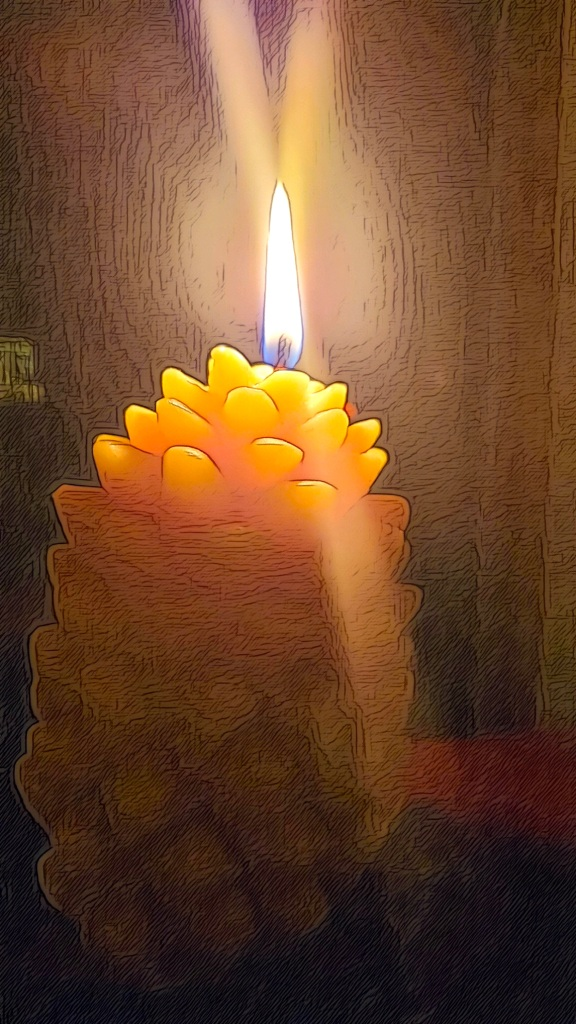 An image of a pine-cone candle, lit and shedding beautiful light.