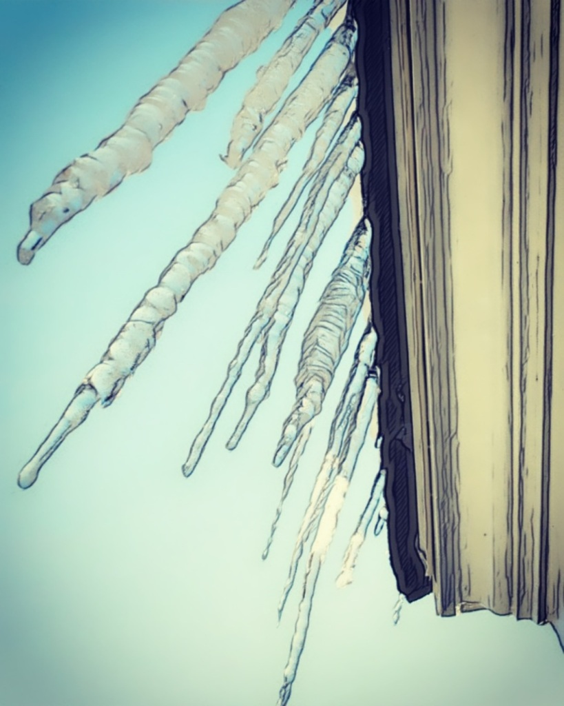 An augmented photo of icicles melting from a roof's edge.