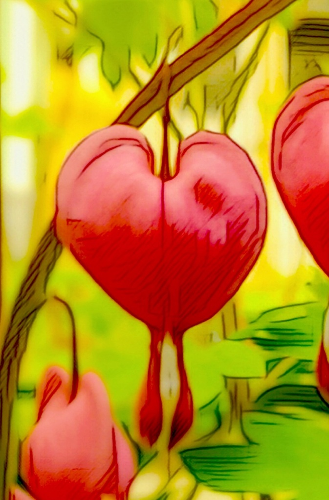 A close-up altered photo of a Bleeding Heart flower.
