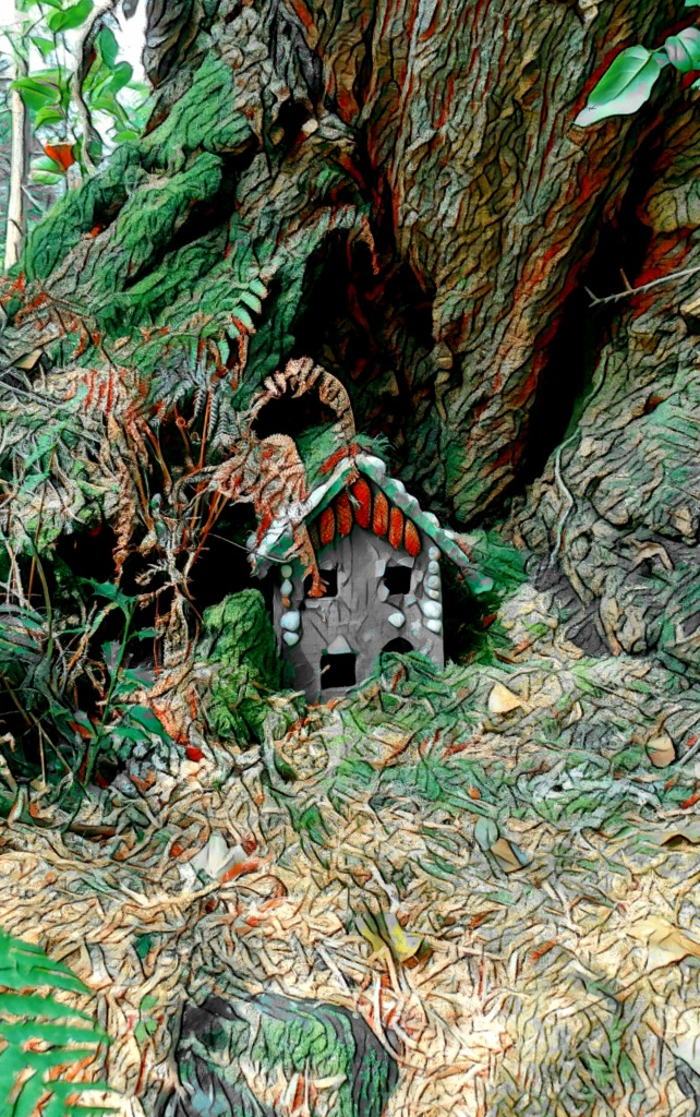 "An altered photo of a small ""fairy house"" tucked into a nook at the base of a great, old tree."
