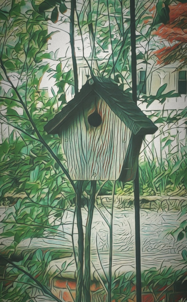 An artfully altered photo of a wooden birdhouse.
