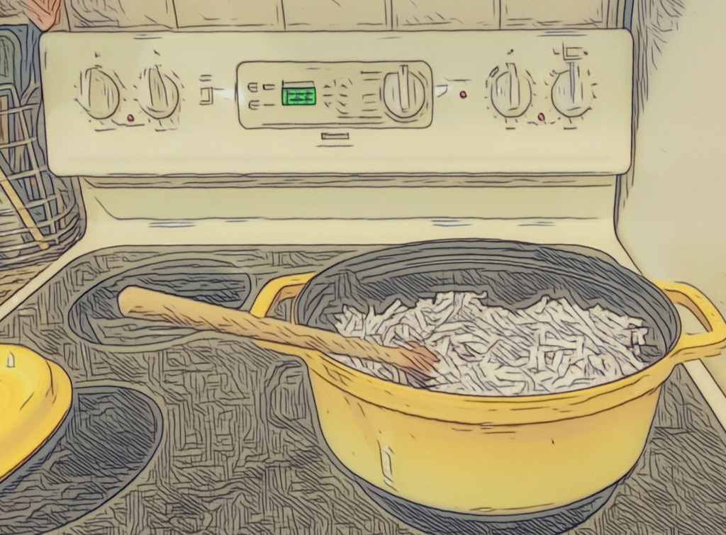 An artfully altered photo of a yellow-enameled cast-iron Dutch oven, filled with shredded paper, on a stove top.
