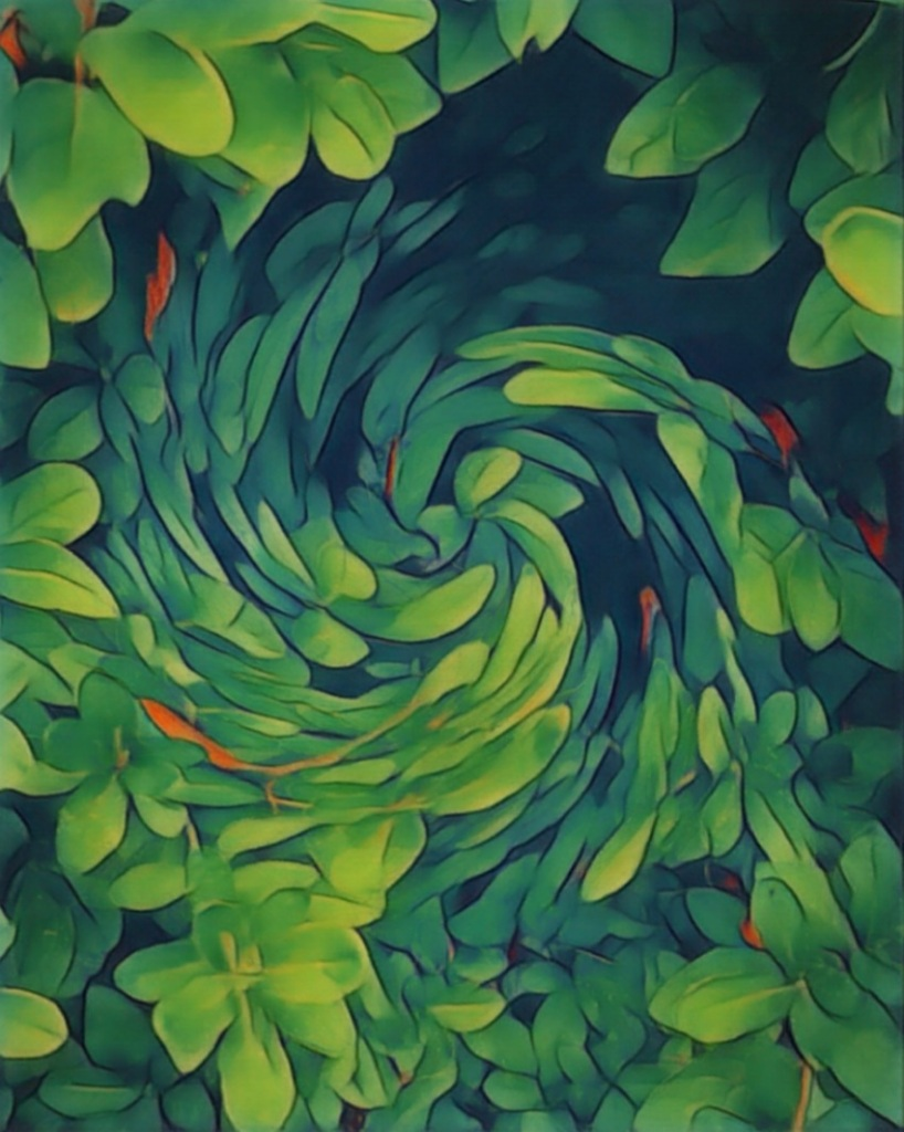 An artfully altered photo of leaves and branches, swirled together at the center.