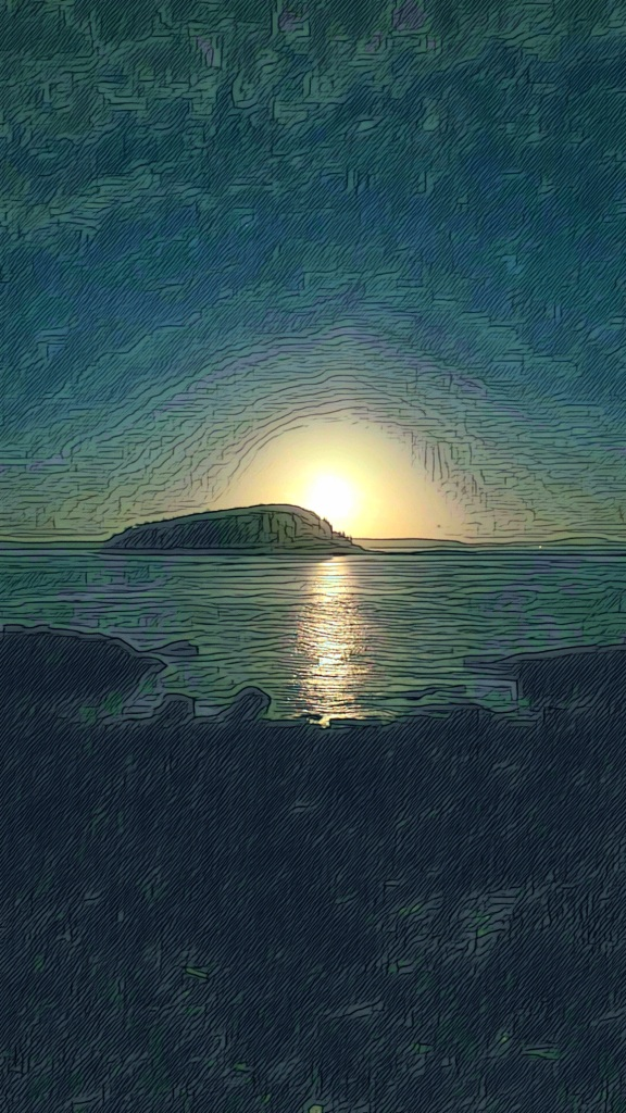 An artfully altered photo of the Full Moon rising over the Porcupine Islands of Maine's Frenchman Bay.